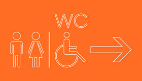 WC, toilet neon vector icon . Men and women sign for restroom on Royalty Free Stock Photography