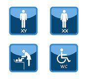 Wc toilet shopping center signs vector illustration