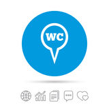 WC Toilet sign icon. Restroom symbol. Royalty Free Stock Photo
