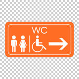 WC, toilet vector icon . Men and women sign for restroom on oran Stock Photos