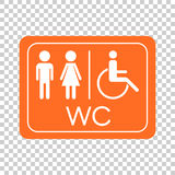 WC, toilet vector icon . Men and women sign for restroom on oran Stock Image