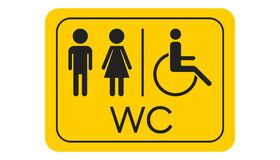 WC, toilet vector icon . Men and women sign for restroom on yell Royalty Free Stock Photo