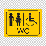 WC, toilet vector icon . Men and women sign for restroom on yell Stock Image