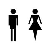 WC-toiletpictogrammen - man en vrouwenvector Royalty-vrije Stock Foto's