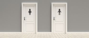WC, toilets. Two closed doors on gray wall and tiled floor background, banner. 3d illustration. WC, toilets. Two closed doors on gray wall and tiled floor royalty free illustration