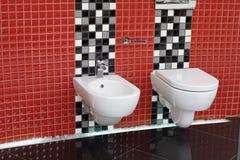 WC van het toilet en bidet Royalty-vrije Stock Foto's