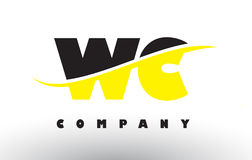 WC W C Black and Yellow Letter Logo with Swoosh. Stock Photo