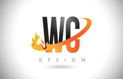 WC W C Letter Logo with Fire Flames Design and Orange Swoosh. WC W C Letter Logo Design with Fire Flames and Orange Swoosh Vector Illustration Royalty Free Stock Images
