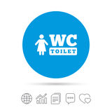 WC women toilet sign icon. Restroom symbol. Stock Image