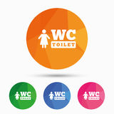 WC women toilet sign icon. Restroom symbol. Royalty Free Stock Images