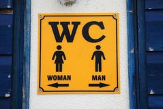 WC-Zeichen, Kroatien Stockfotografie