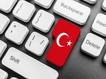 Wchodzić do klucza guzika z flaga Turcja Obraz Royalty Free