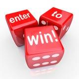 Wchodzić do Wygrywać 3 kostka do gry Czerwonego konkursu Wygranego wejście Zdjęcie Royalty Free