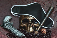 Wciąż życia pojęcia inkasowy pirat Zdjęcia Royalty Free