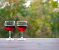 Wciąż życia pojęcie dwa szklanek wina Obrazy Stock