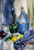 Wciąż życie akwarela maluje czajnika Zdjęcia Royalty Free