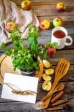 wciąż życie drewniani naczynia z mennicą i jabłkami fotografia royalty free