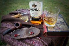 Wciąż życie - dwa szkła whisky na stole z książką, butelką i drewnianym pucharem, Zdjęcie Royalty Free