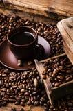 Wciąż życie, gorąca czarna kawa obraz stock