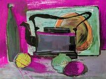 Wciąż życie guasz maluje czajnik owoc Zdjęcia Stock