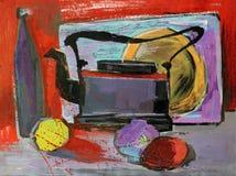 Wciąż życie guasz maluje czajnik owoc Fotografia Royalty Free
