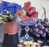 Wciąż życie owoc i kwiaty Obrazy Royalty Free