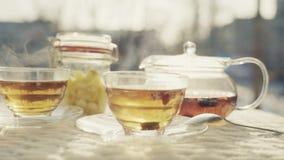 Wciąż życie owocowa herbata w świeżym powietrzu zbiory wideo