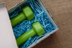 Wciąż życie prezent i sprawność fizyczna, dwa zielonego dumbbells w prezenta pudełku na tle grabić Zdjęcie Royalty Free