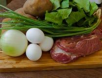 Wciąż życie produkty dla domowego kucharstwa kobylaka polewki Zdjęcia Royalty Free