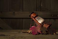 Wciąż życie wizerunek Czerwony lampion i liście Zdjęcia Royalty Free