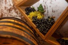Wciąż życie z baryłką wino i winogrona zdjęcie stock