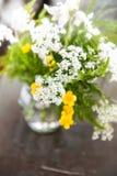 Wciąż życie z bukietów dzikimi kwiatami trawą na drewnianym stole i Obrazy Royalty Free