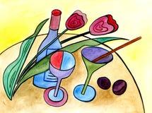 Wciąż życie z butelką, szkłami i kwiatami, royalty ilustracja