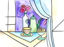 Wciąż życie z dzbankiem, butelką, nakrętką i wazą, royalty ilustracja