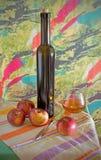 Wciąż życie z jabłkami i winem Fotografia Royalty Free