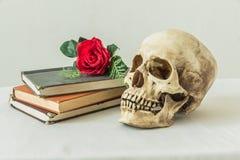 Wciąż życie z ludzką czaszką z sfałszowane czerwone róże i książki Zdjęcia Royalty Free