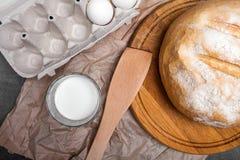 Wciąż życie z mlekiem, jajka, chleb Zdjęcia Royalty Free