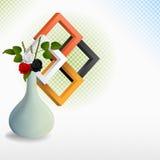 Wciąż życie z różami w wazie i trzy wymiaruje kwadraty ilustracji