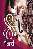 Wciąż życie z roczników płatkami i skrzypce Zbliżenie stary drewniany skrzypce Fotografia Royalty Free