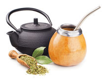 Wciąż życie z szturmanu teapot i yerba Fotografia Royalty Free
