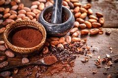 Wciąż życie zmielony kakao obraz stock