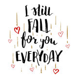 Wciąż spada dla ciebie codzienna miłości kaligrafii karta Fotografia Stock