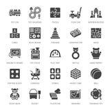 Wczesne rozwoju dziecka zabawek mieszkania linii ikony Bawić się matę, sortuje blok, ruchliwie deska, zabawkarski samochód, dziec ilustracji
