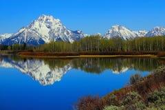 Wczesnego Poranku ?wiat?o na g?rze Moran i Teton pasmie przy Oxbow chy?em w?? rzeka, Uroczysty Teton park narodowy, Wyoming obrazy royalty free