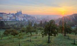 Wczesnego poranku widok Praga z złotym wschodem słońca Obrazy Royalty Free