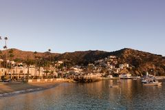 Wczesnego poranku wschodu słońca seascape w Avalon schronieniu patrzeje w kierunku miasteczka i plaży Obraz Stock