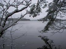 Wczesny śnieg na Karelian cieśni Obraz Stock
