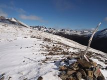 Wczesny jesień śnieg w górach Navarino wyspa, prowincja chilijczyk Antarctica, Chile Obraz Stock