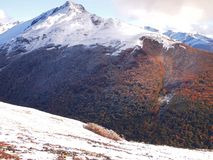 Wczesny jesień śnieg w górach Navarino wyspa, prowincja chilijczyk Antarctica, Chile Zdjęcia Stock