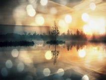 Wczesny poranek jesień przy halnym jeziorem w marzycielskiej atmosferze, drzewo na wyspie w środku Fotografia Royalty Free